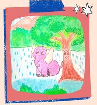 नन्हा हाथी और पेड़